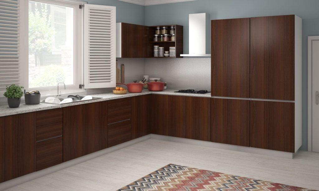 tủ bếp gỗ công nghiệp phủ laminate