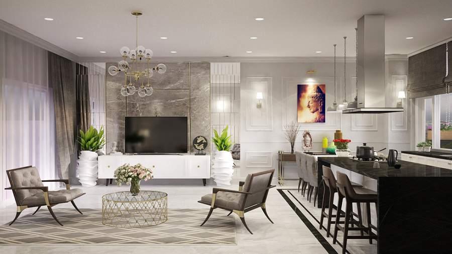thiết kế phòng khách chung cư với cây xanh