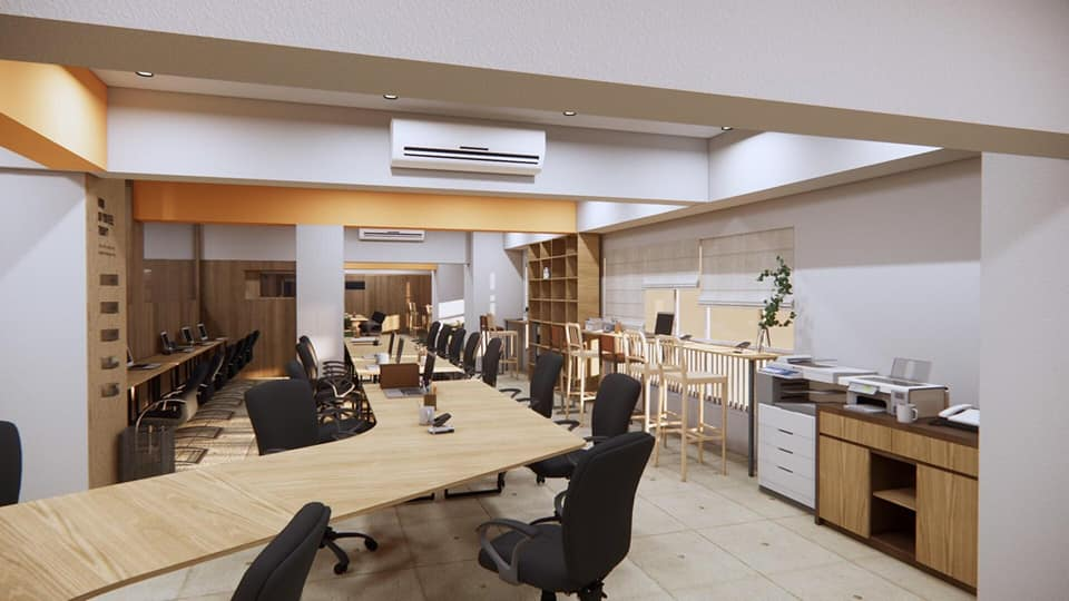 mẫu thiết kế văn phòng làm việc hỗ trợ
