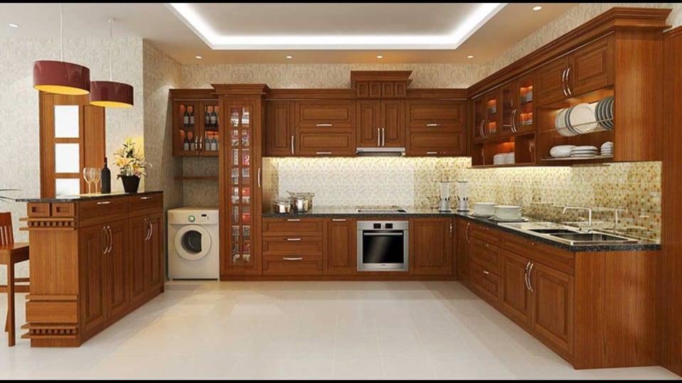 mẫu tủ bếp gỗ tự nhiên hiện đại
