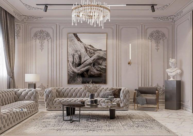 phong cách thiết kế nội thất biệt thự cổ điển Châu Âu