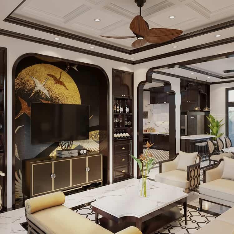 phong cách thiết kế nội thất biệt thự Indochine