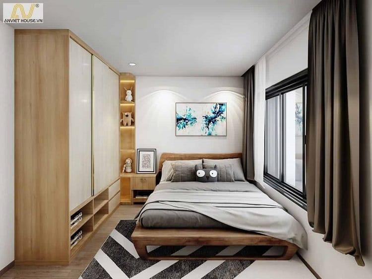 các mẫu thiết kế nội thất phòng ngủ căn hộ chung cư nhỏ đẹp