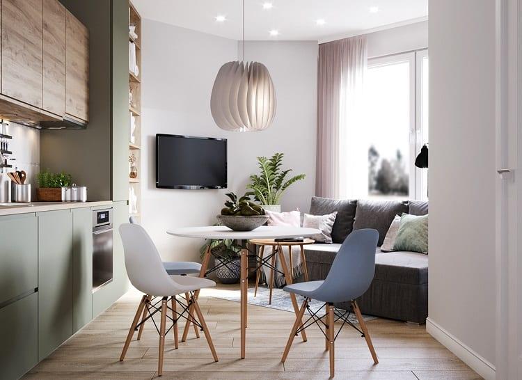 phòng khách kết hợp với phòng bếp