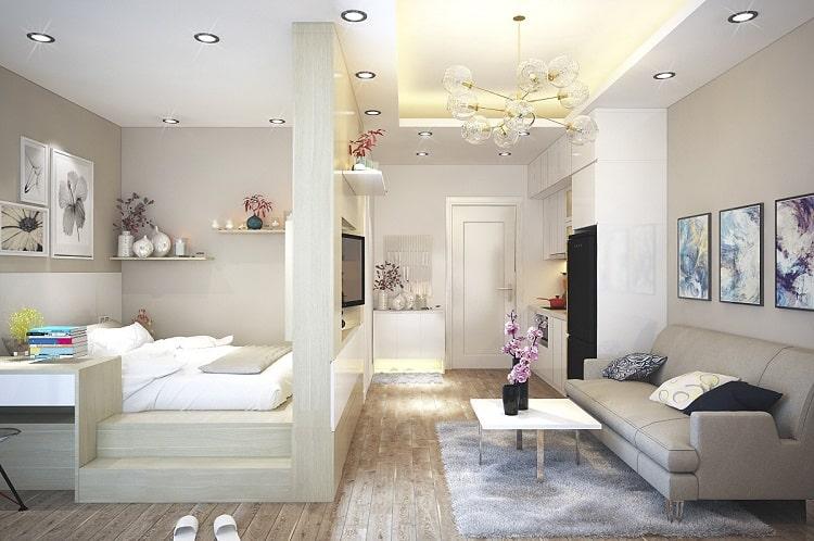 các mẫu thiết kế phòng ngủ kết hợp phòng khách căn hộ chung cư nhỏ đẹp