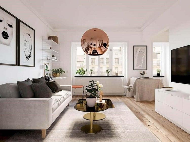 nội thất tối giản phòng khách căn hộ 30m2