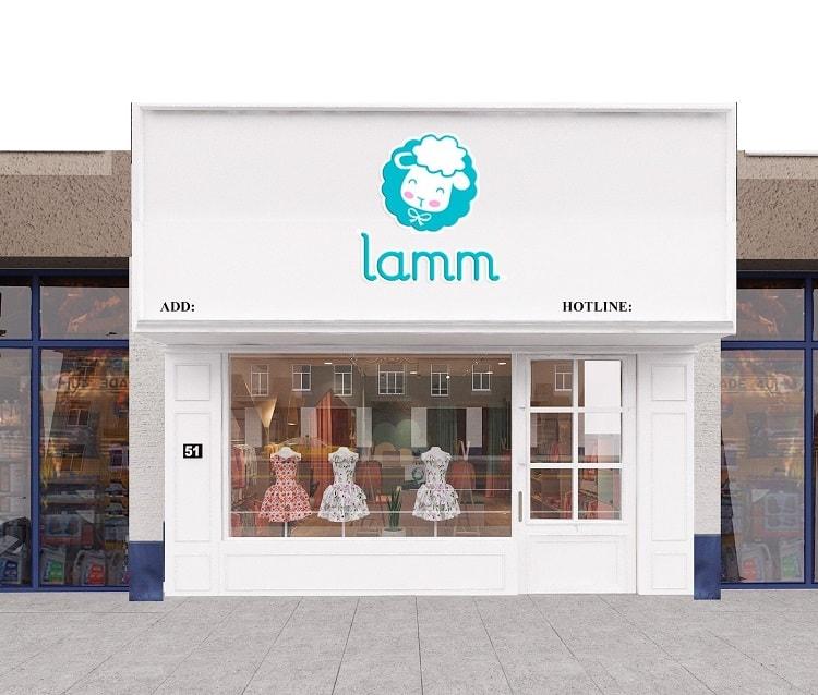 thiết kế mặt tiền cửa hàng thời trang trẻ em