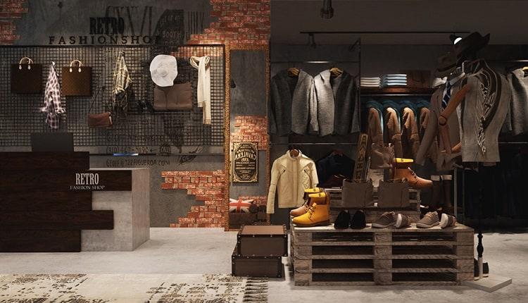 trang trí shop quần áo theo phong cách vintage
